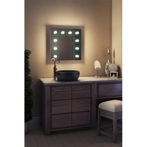 Зеркало в ванную комнату с подсветкой лампочками Ария